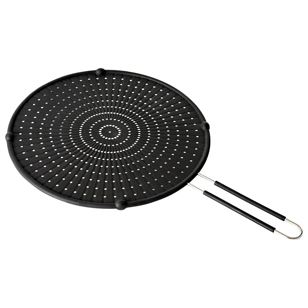 YORLFE Silicone Splatter Screen - High Heat Resistant Pan Cover/Strainer/Cooling Mat/Drain Board, Protects From Hot Oil Splash For Cooking & Frying(Stay-Cool Handle,Black, 13'')