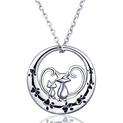 AEONSLOVE Necklaces, S925 Sterling Silver Lovely Dog Pendant Necklace, 18