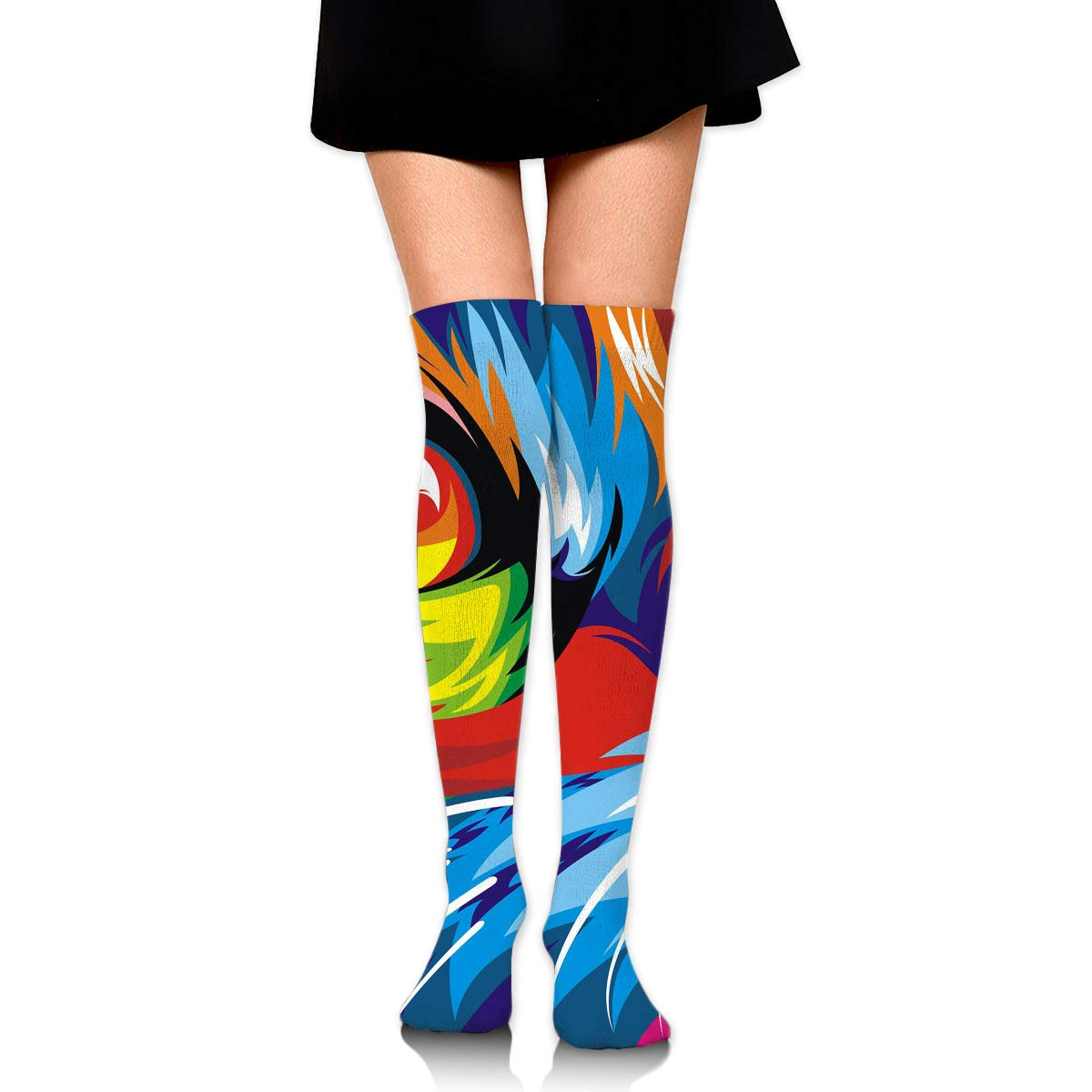 High Elasticity Girl Cotton Knee High Socks Uniform Color Cat Art Women Tube Socks