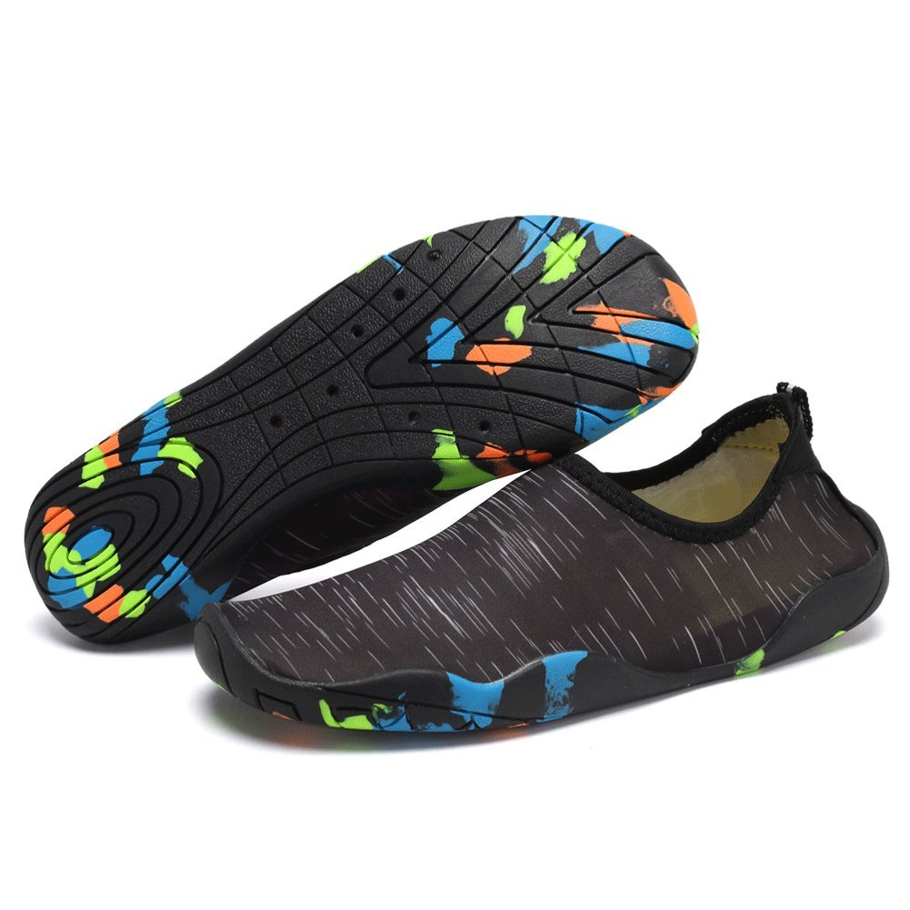 CIOR Water Shoes Men Women Kid's Quick-Dry Aqua Shoes for Swim, Walking, Yoga B071ZB2N8T 9.5 M US Women / 8 M US Men|T.black/Camouflage Soles