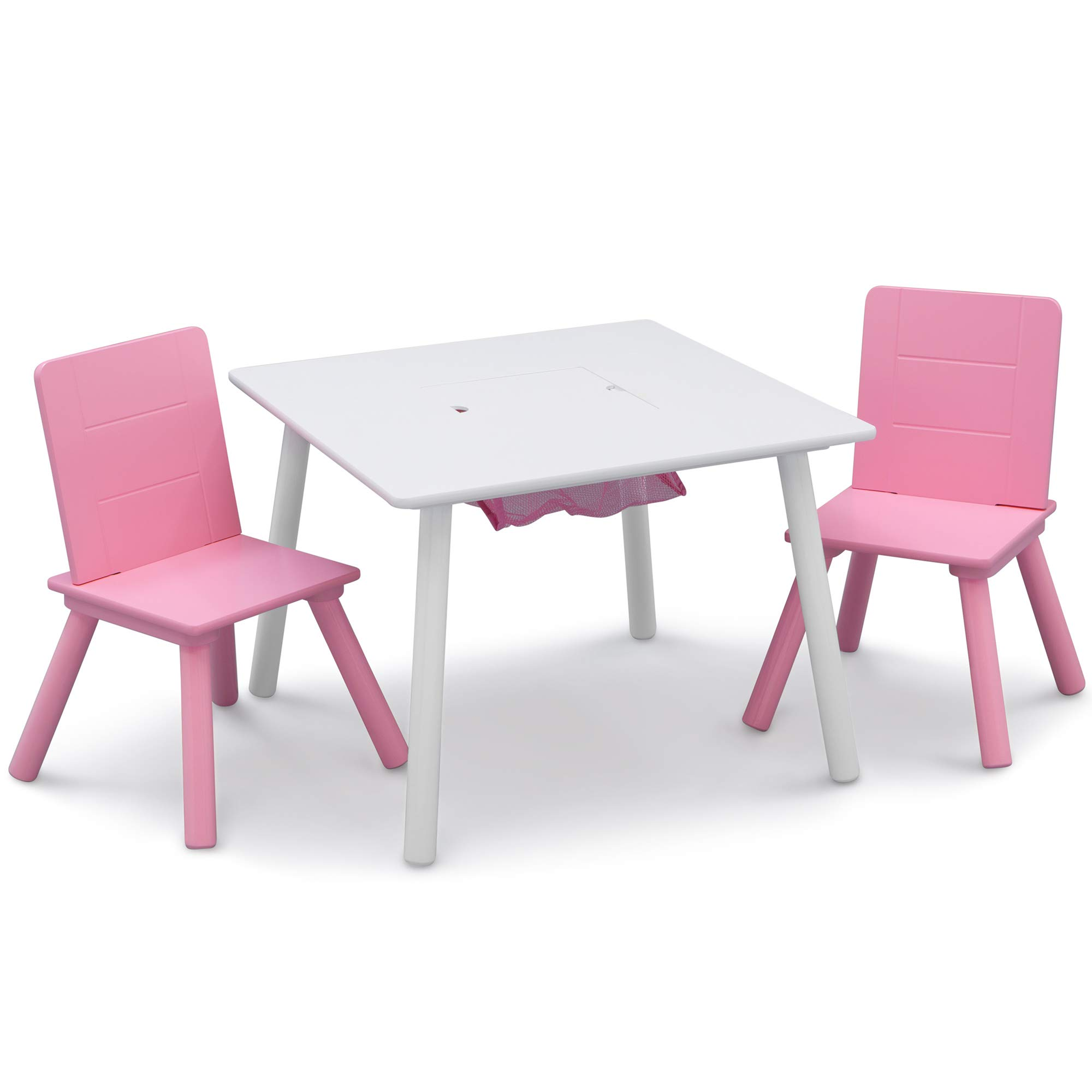 Delta Children Kids Table & Chair Set with Storage (2 Chairs Included), White/Pink by Delta Children