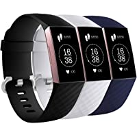 Fitbit Charge 3 Replacement Strap Band (3 Pack) Sport Wristband with Adjustable Alloy Buckle for Men Women Small Large