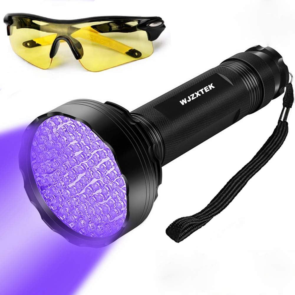 Linterna UV inspecci/ón de luces negras HD UV Light 100 LEDs con gafas de sol UV Detector de orina for manchas de perros y mascotas Bright 100 LEDs Blacklight Torch