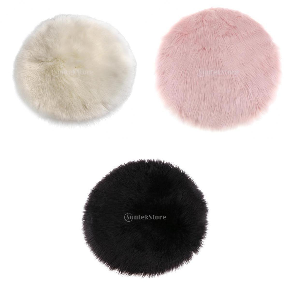 Homyl 3Pieces Super Soft Faux Fur Sheepskin Sofa Chair Cover Rug / Shaggy Area Rugs - Round Shaped