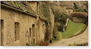 SHENGLIPINK Frameless Paintings Farm House Decor,British Town with Stone Houses Retro England Countryside Buildings Image,Grey Green Frameless DIY Adult Kids Art Paint On Painting by Numbers 2040cm