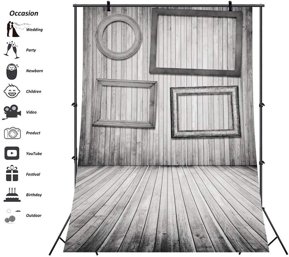 Polyester Retro Wooden Photography Background 6.5x10ft Empty Photo Frame Grunge Wooden Wall Backdrops Rustic Wood Texture Floor Backdrop Children Adults Vintage Style Portraits Shoot Booth
