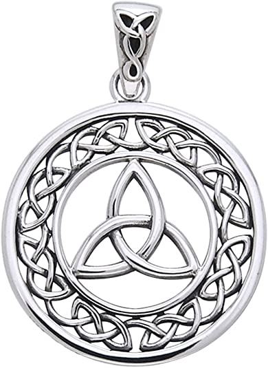 Jewelry Trends Sterling Silver Double Celtic Trinity Knot Pendant on Box Chain Necklace