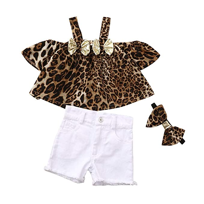 LABIUO - Traje para niños de 1 a 4 años de Edad, Ropa para bebé, sin Hombros, Arco con Estampado de Leopardo, Tops + Pantalones Vaqueros + Cinta para ...