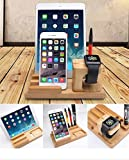 Gorilla Gadgets Bamboo Wood Apple Watch iPad Charging Stand, Nature
