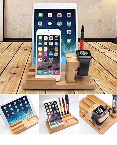 Gorilla Gadgets Bamboo Wood Apple Watch iPad Charging Stand, Nature by Gorilla Gadgets