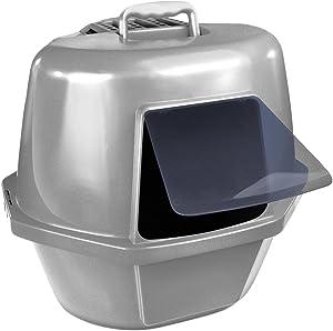 Van Ness Corner Enclosed Cat Pan, Silver, Large