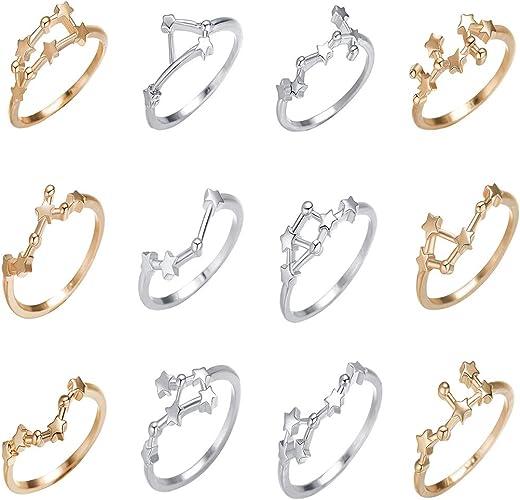 QIAMNI 12 Star Zodiac Signs Knuckle Ring Constellation Horoscope Astrology Galaxy Finger Rings Birthday Friendship Gift