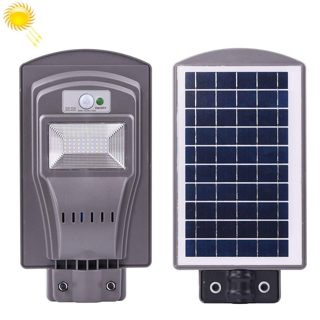 Impermeabile Sensore radar impermeabile IP65 da 20W + illuminazione stradale a luce solare con pannello solare 6V   12W, 40 LED luce esterna a risparmio energetico Lunga durata