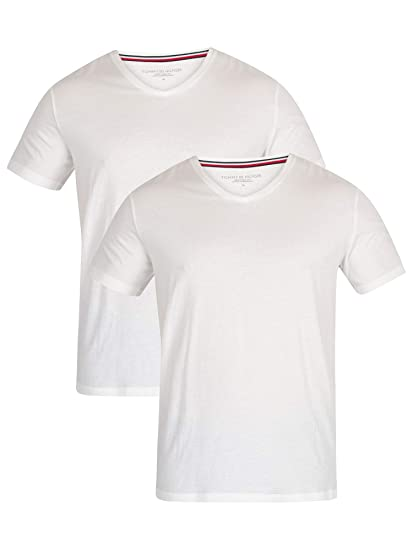 ae5741866f75 Tommy Hilfiger Men's 2 Pack V-Neck T-Shirts, White, Small: Amazon.co ...