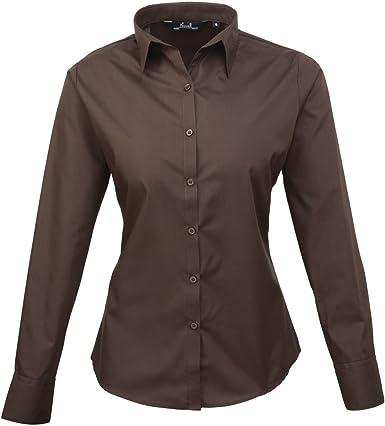 Premier Workwear PR300 para mujer negocio hospitalidad Barwear Manga Larga Popelina camisa marrón 18: Amazon.es: Ropa y accesorios