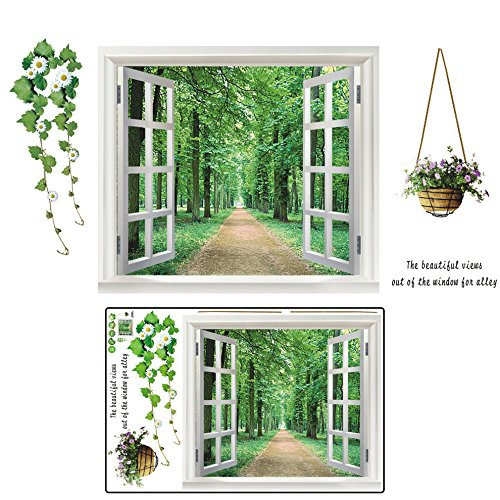MAZIMARK--Window View Tree Forest Removable Vinyl Decal Art Mural Home Decor Wall Sticker