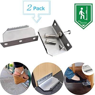 Foot Operated Handle Pull,Touchless Hands Free Foot Door Opener Handle Bracket Thick Metal Door Pedal (2 PCS): Kitchen & Dining