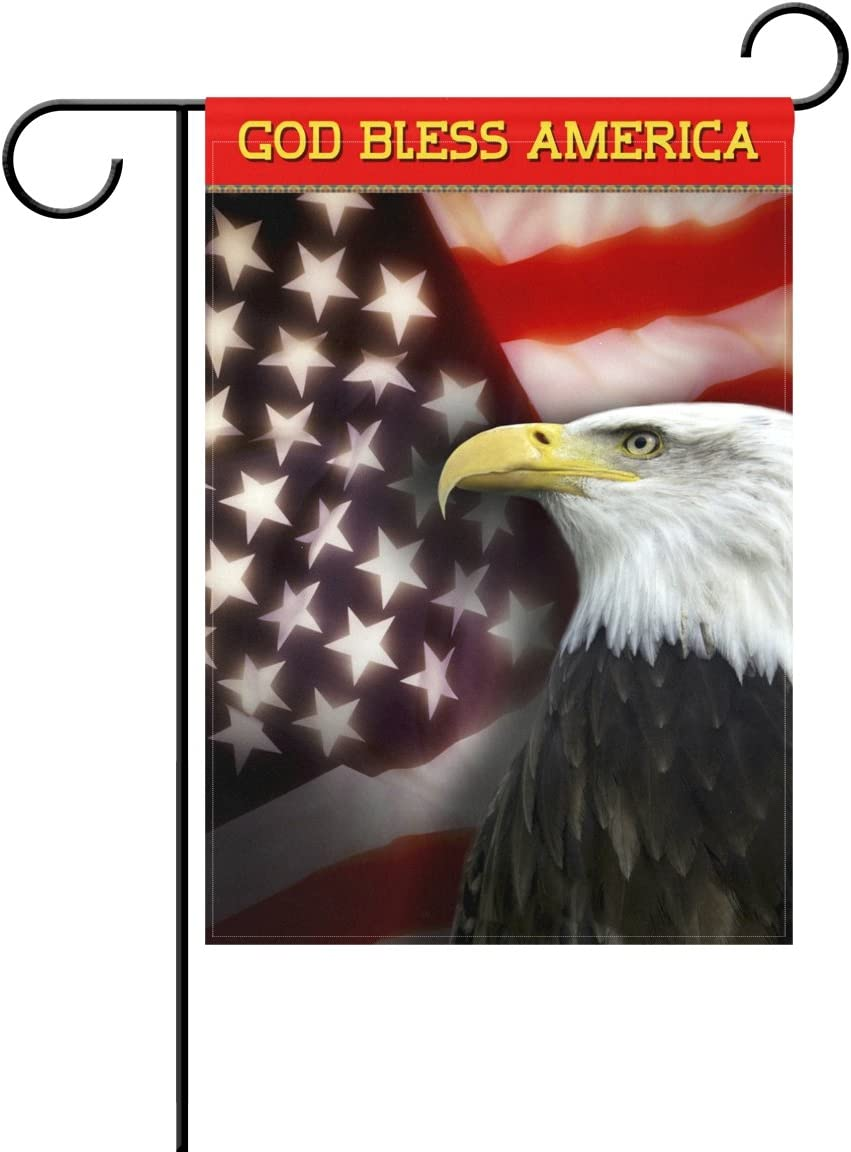 Amazon Com My Little Nest God Bless America Eagle Decorative Garden Flag Double Sided Patriotic Usa House Flag Polyester 12 X 18 Inches Garden Outdoor