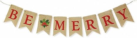 Primitive Christmas Burlap Ribbon Banner Ask Believe Receive Ornament Garland