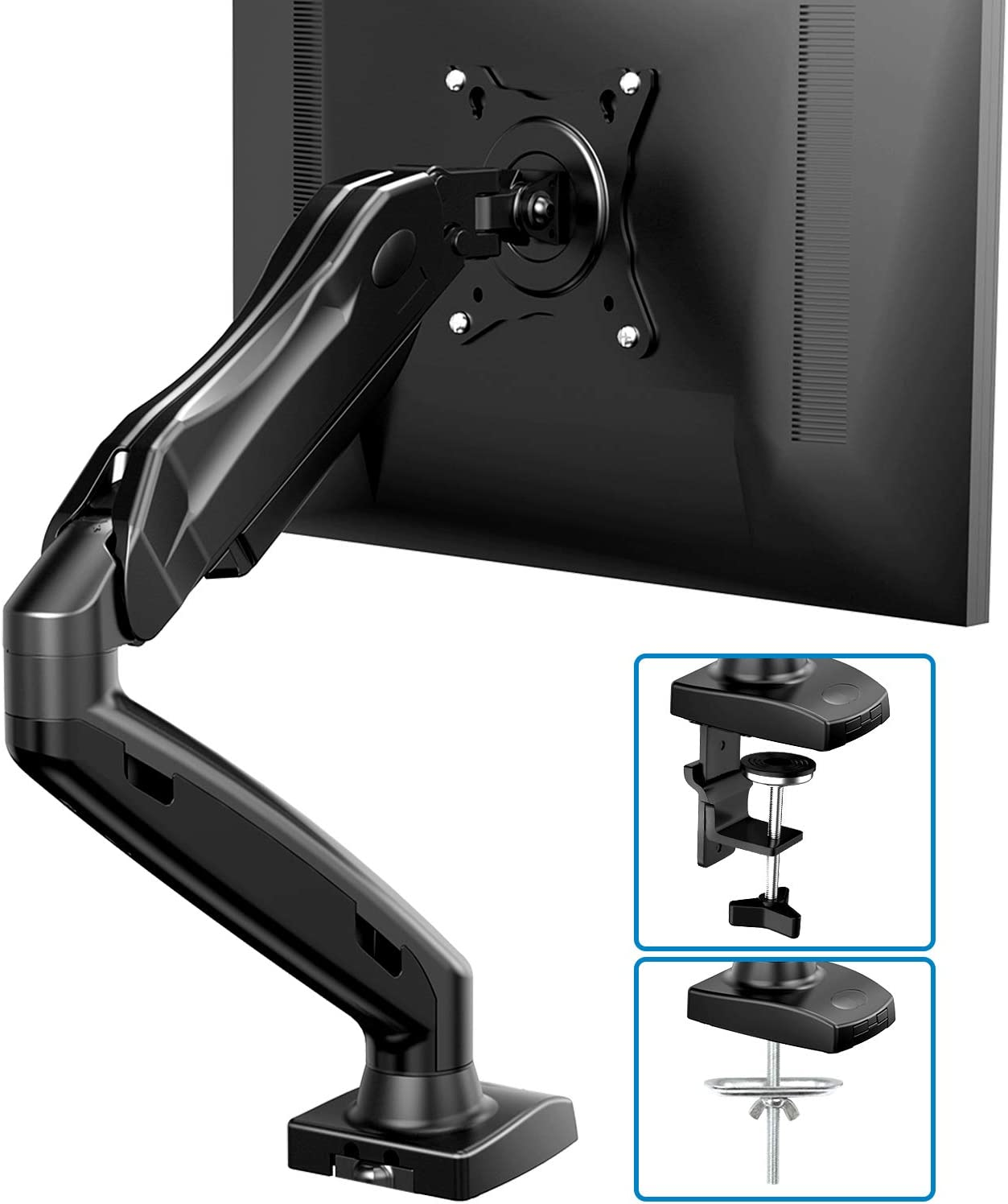 Single Monitor Mount - Articulating Gas Spring Monitor Arm, Adjustable VESA Mount Desk Stand with Clamp and Grommet Base - Fits 17 to 27 Inch LCD Computer Monitors 4.4 to 14.3lbs
