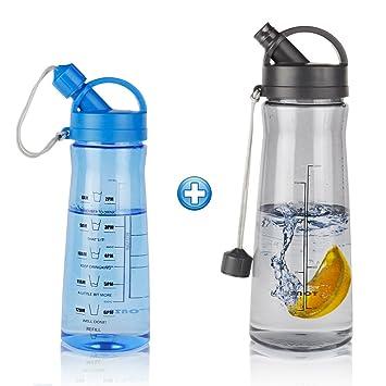Botella de Agua, Botellas Grande Plastico, Litros de Ague Reutilizable Botella Para Gimnasio Deporte