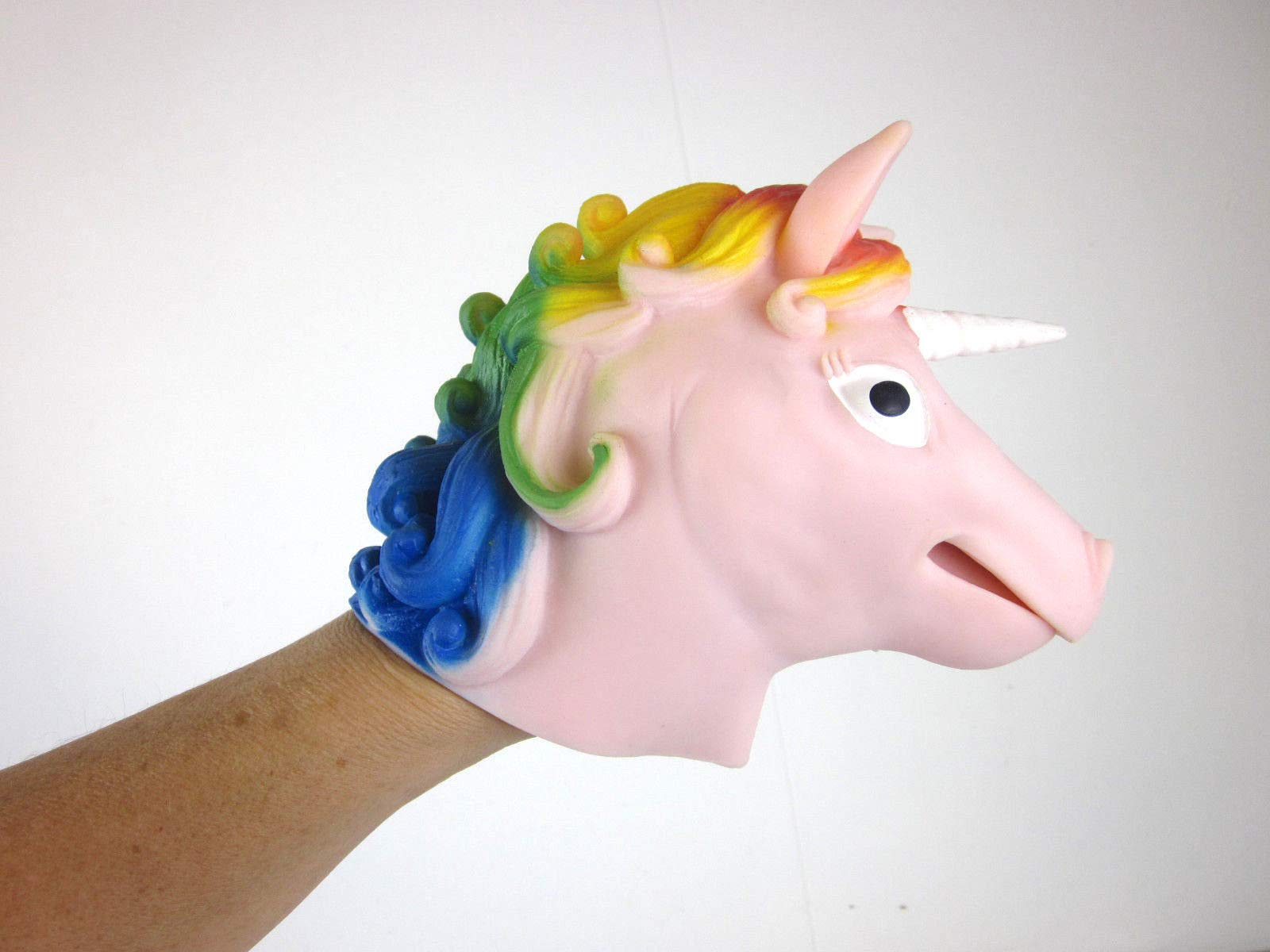 Big Game Toys~Unicorn Hand Puppet Rainbow Mane Stretchy Rubber Schylling Pink or Purple 6