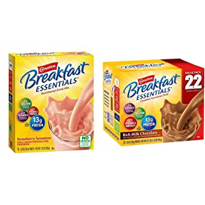 Carnation Breakfast Essentials Powder Drink Mix, Strawberry Sensation, 10 Count Box of 1.26 Ounce Packets (Pack of 6) (Packaging May Vary) & Powder Drink Mix, Rich Milk Chocolate, Box of 22 Packets