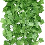 Gresorth 2.4m Artificial Big Grapes Rattan Fake Hanging Vine Plants Leaves Home Garden Wall Decoration - Pack of 12