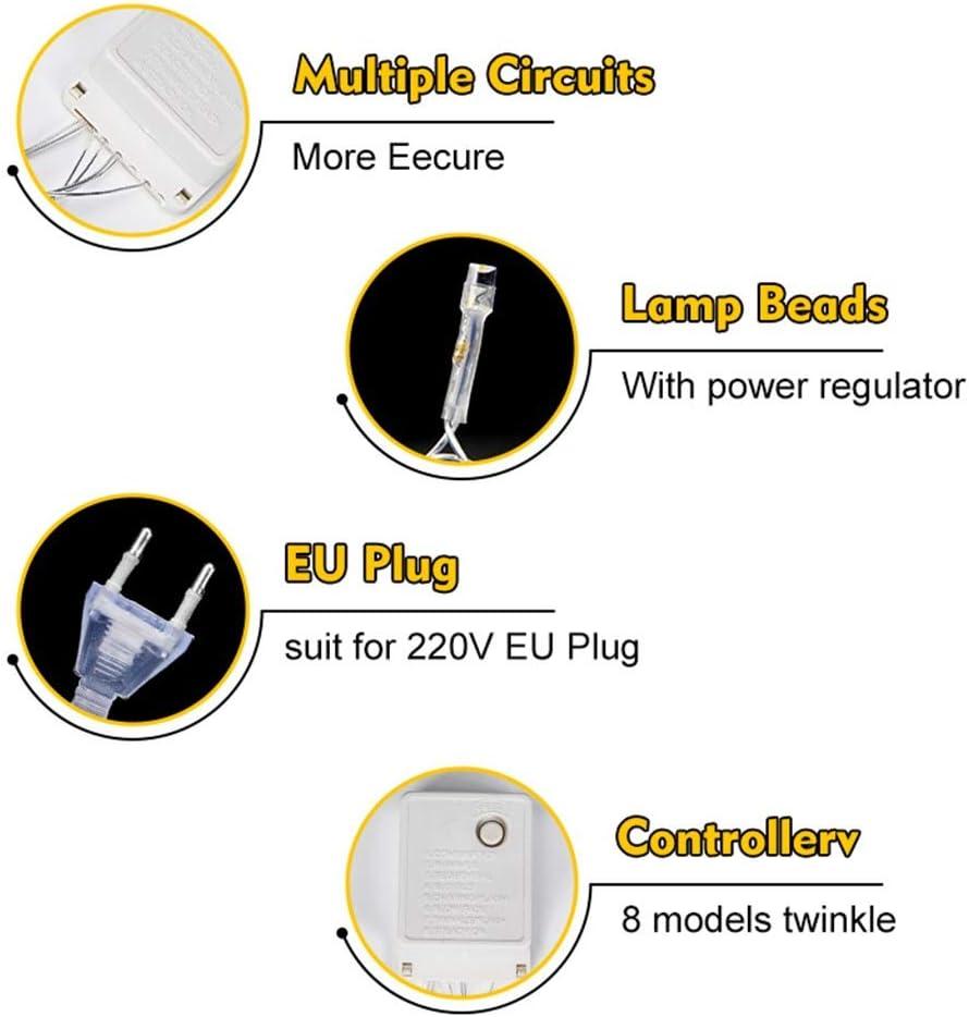 ASKLKD LED-Schnur-Licht 800 LEDs 100m Fairy-Schnur-Licht For Indoor Outdoor Schlafzimmer Hochzeit Garten Gazebo Und Mehr (Color : Blue-30m-300LEDs) Blue-100m-800leds