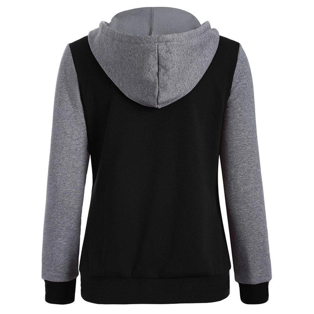 Balakie Womens Long Sleeve Patchwork Hoodie Print Casual Warm Velvet Sweatshirt