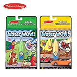 "Melissa & Doug On the Go Water Wow! Reusable Water-Reveal Activity Pads, Vehicle & Animal Watercolor Books, Chunky-Size Water Pen, 2-Pack, 10"" H × 6.25"" W × 1.5"" L"