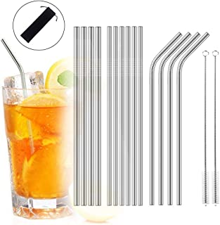 Iusun Straws with Cleaning Brushes,Stainless Steel Reusable 10.5'' Drinking Paper-Birthday Holiday Wedding Celebrations Party Family Bar-Cold Bubble Boba Tea Milkshakes Beverage Companion (Silver)