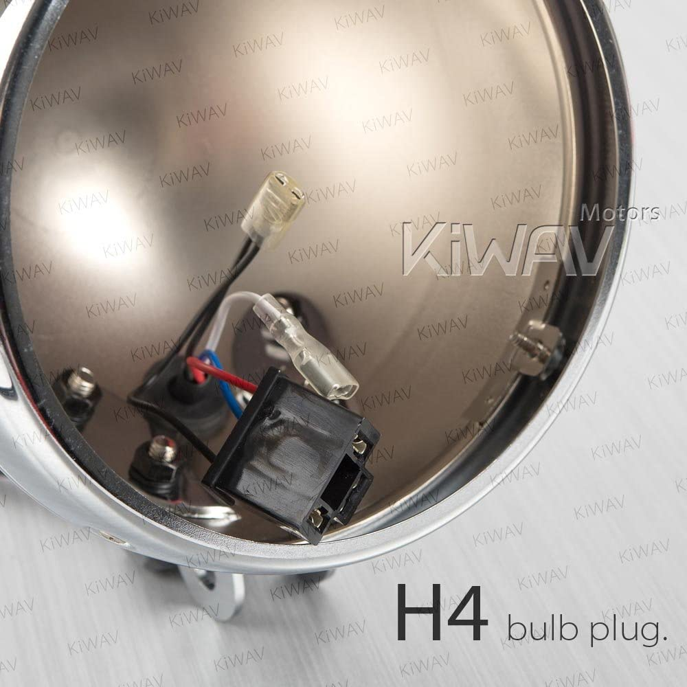 5-3//4 Inch Bottom Mount Motorcycle Headlight Bucket Chrome Clubman Style with Mounting Hardware