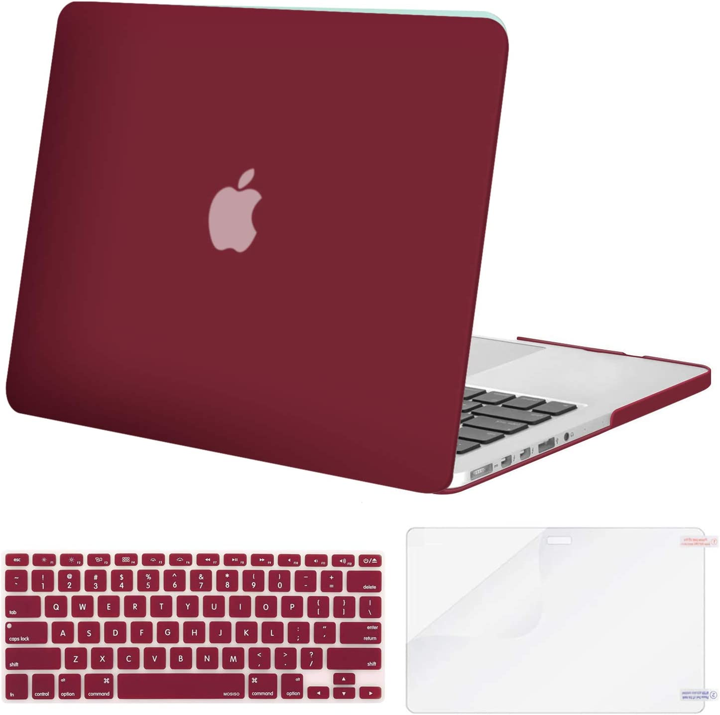 MOSISO Case Only Compatible with Older Version MacBook Pro Retina 13 inch (Models: A1502 & A1425) (Release 2015 - end 2012), Plastic Hard Shell Case & Keyboard Cover & Screen Protector, Wine Red