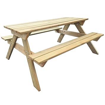vidaXL Table de Pique-Nique en Bois Table de Jardin Terrasse Meuble ...