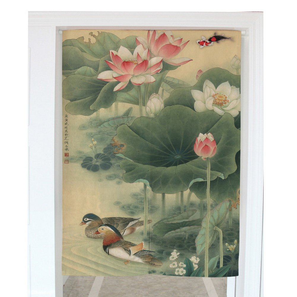 Mandarin Duck Paddle Chinese Style Noren Curtain Tapestry Home Decoration (31.5''x35.4'')