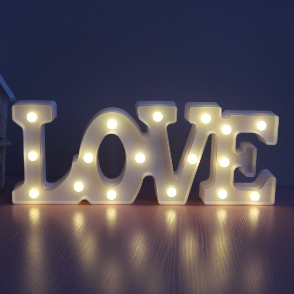 CSKB LED Marquee Letter Lights 26 Alphabet Light up Marquee Letters Sign for Wedding Birthday Party Battery Powered Christmas Night Light Lamp Home Bar Decoration (White Love)