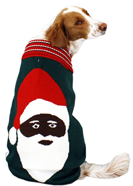 black santa dog christmas sweater in green ugly christmas sweater large by festified - Large Dog Christmas Sweaters