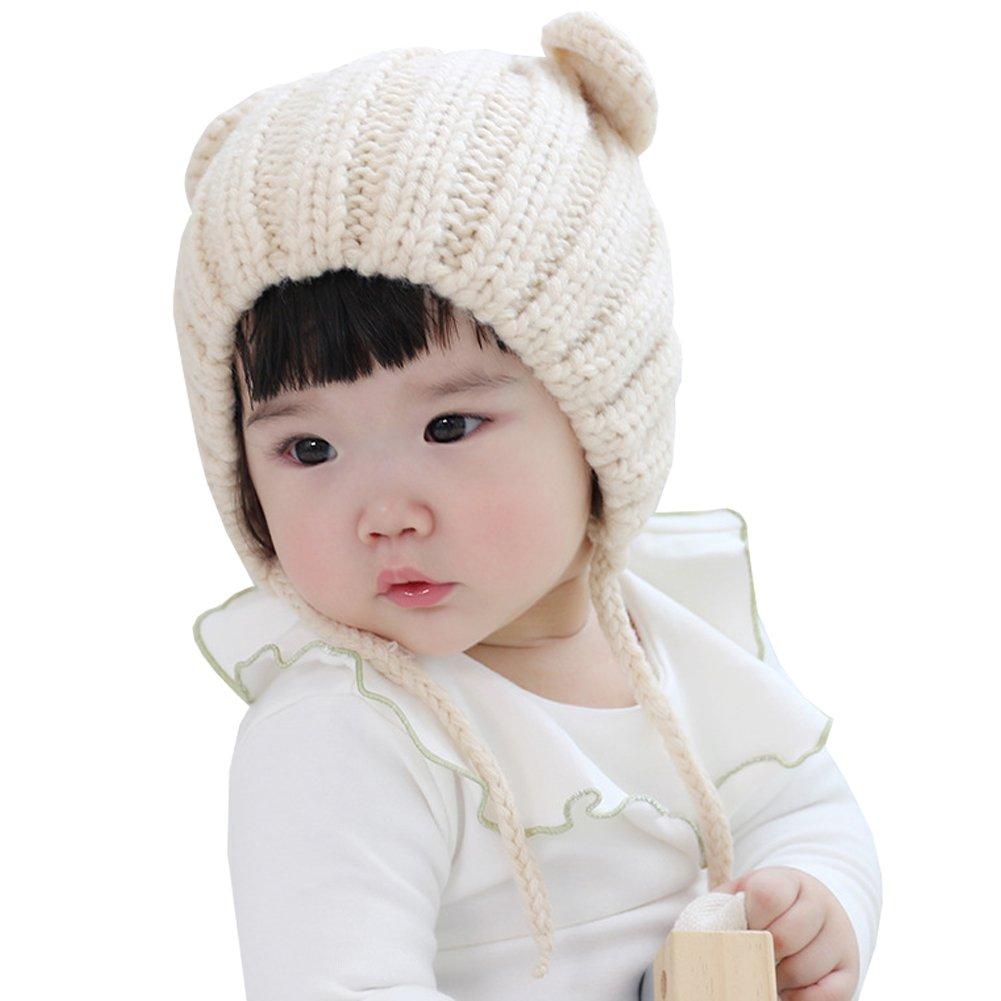 12699aa639f Amazon.com  LSERVER Cute Bear Ears Baby Winter Hats Warm Baby Earflap Knit  Hat Beanie Cap  Clothing