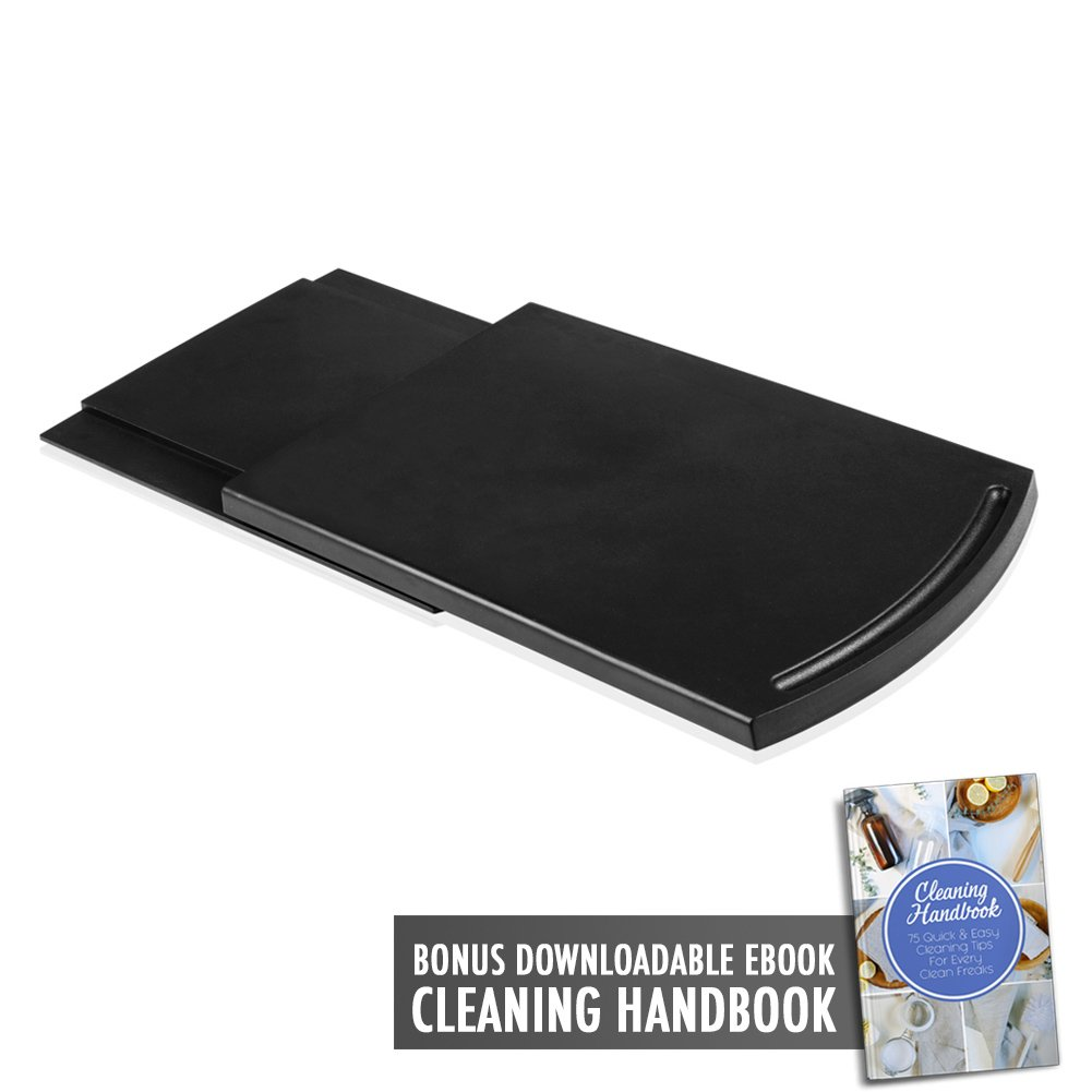 """Multiuse Handy Caddy Sliding Tray 12"""" Premium BPA-Free ABS Base Smooth Rolling Wheels Stand Under Cabinet Countertop Storage Coffee Maker Blender Toaster Kitchen Appliances with Cleaning Handbook"""