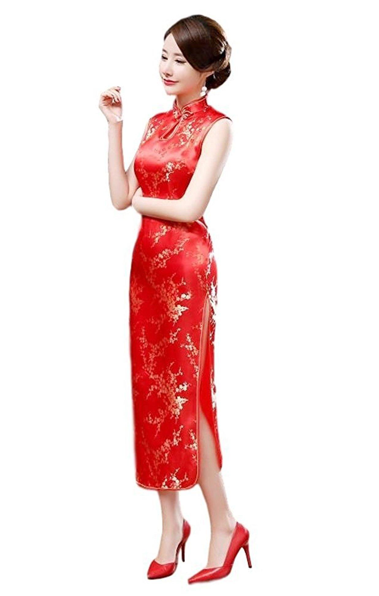 Maritchi Women's Long Chinese Wedding Dress Cheongsam Qipao Retro Long Flower Printing (12(ChineseXXXL), Red)