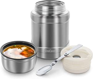 DaCool Hot Food Jar Kids School Insulated Lunch Containers 16 oz Food Thermos for Toddler Vacuum Stainless Steel Keep Food Warm Container Leak Proof Lunch Box Bento for Adults Office Picnic Outdoors