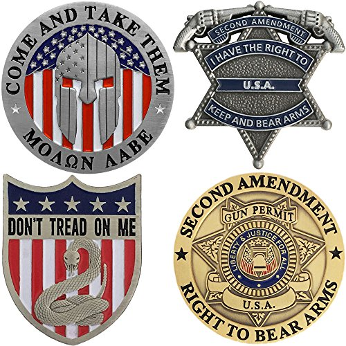 Second Amendment Pins - Patriotic Right To Bear Arms - 4 Piece Lapel Pin ()
