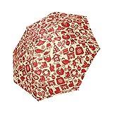 Christmas Reindeer Mistletoe and Holly 100% Polyester Pongee Waterproof Foldable Travel Fashion Umbrella