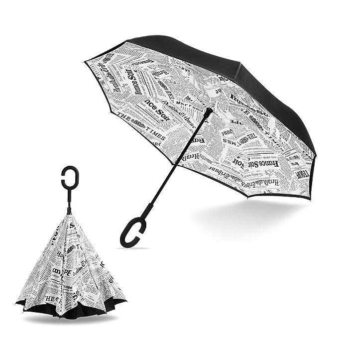 Paraguas invertido de doble capa y diseño, con mango en forma de C