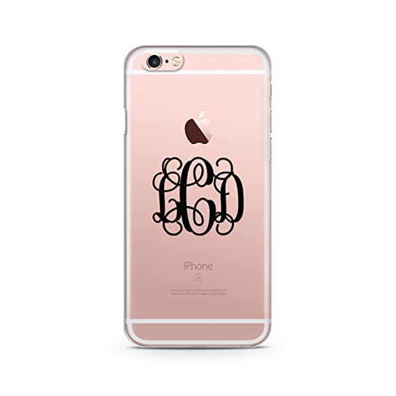 the best attitude fd9ab a4d1f iCustoms iPhone 7 Plus Clear Cover Custom Monogrammed and Colors , Monogram  Custom Case Clear Transparent for iPhone