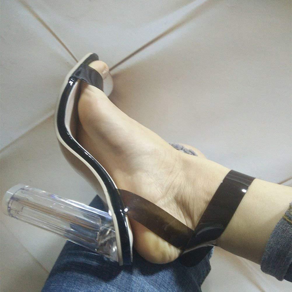 Oudan Oudan Oudan Große Größe Knöchelriemen Open Toe High Heels Crystal Transparent Dick mit Catwalk Sandalen (Farbe   Nackt, Größe   37) 03eca2