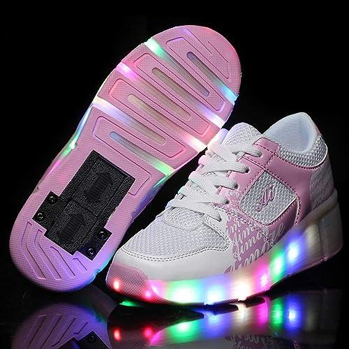Zapatillas de Ruedas con Luces,Los Zapatos con Ruedas LED para Patines de Ruedas iluminan los Entrenadores con Ruedas Zapatillas de Deporte LED para niñas, ...