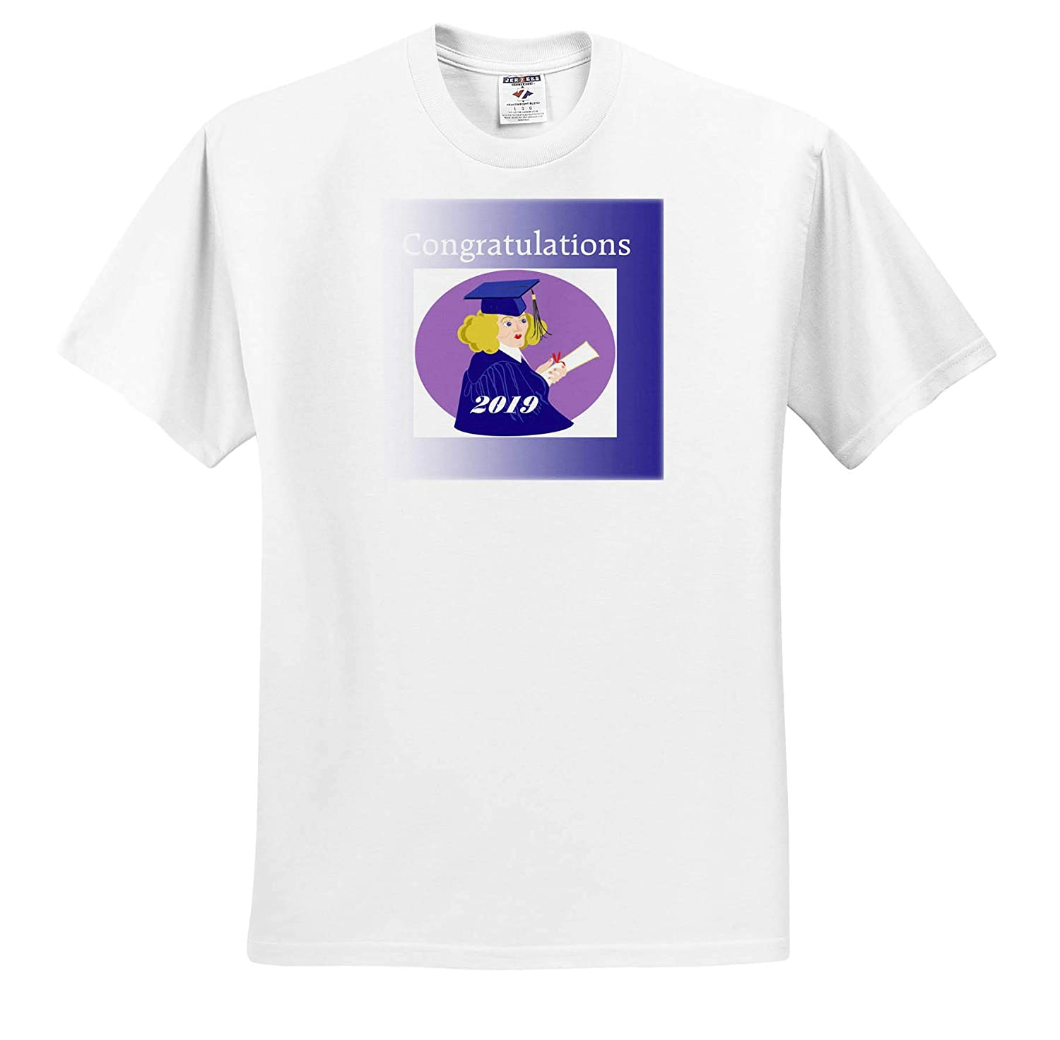 T-Shirts 3dRose Lens Art by Florene Image of Girl in Graduation Gown and Congratulations 2019 Graduation