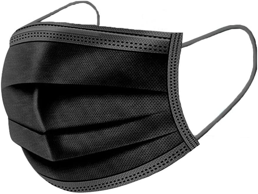MMMYANG 50 Piezas Negro 3 Capas Protección Tipo Gancho para la Oreja Seguro Suave Transpirable no Tejido Tejido desechable, Prueba de Polvo con Elástico para Los Oídos